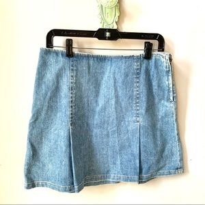 Theory Distressed Denim A Line Mimi Skirt